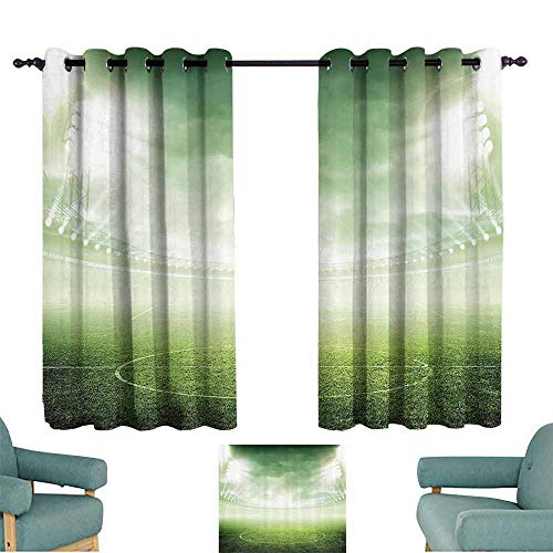 DILITECK Exquisite Curtain Sports Decor Illuminated Stadium Under Spot Lights Night Football Arena Activity Grass Playground Picture Blackout Draperies for Bedroom Living Room W72 xL72 Green