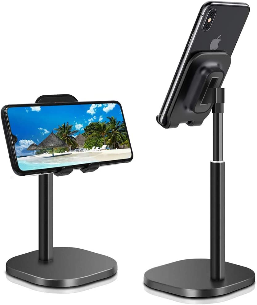Adjustable Tablet Cell Phone Stand for Desk Fully Foldable Angle Height Adjustable Stable Desktop Phone Holder Cradle Dock Compatible with iPhone Samsung, iPad, Up to 10 Inch Screen