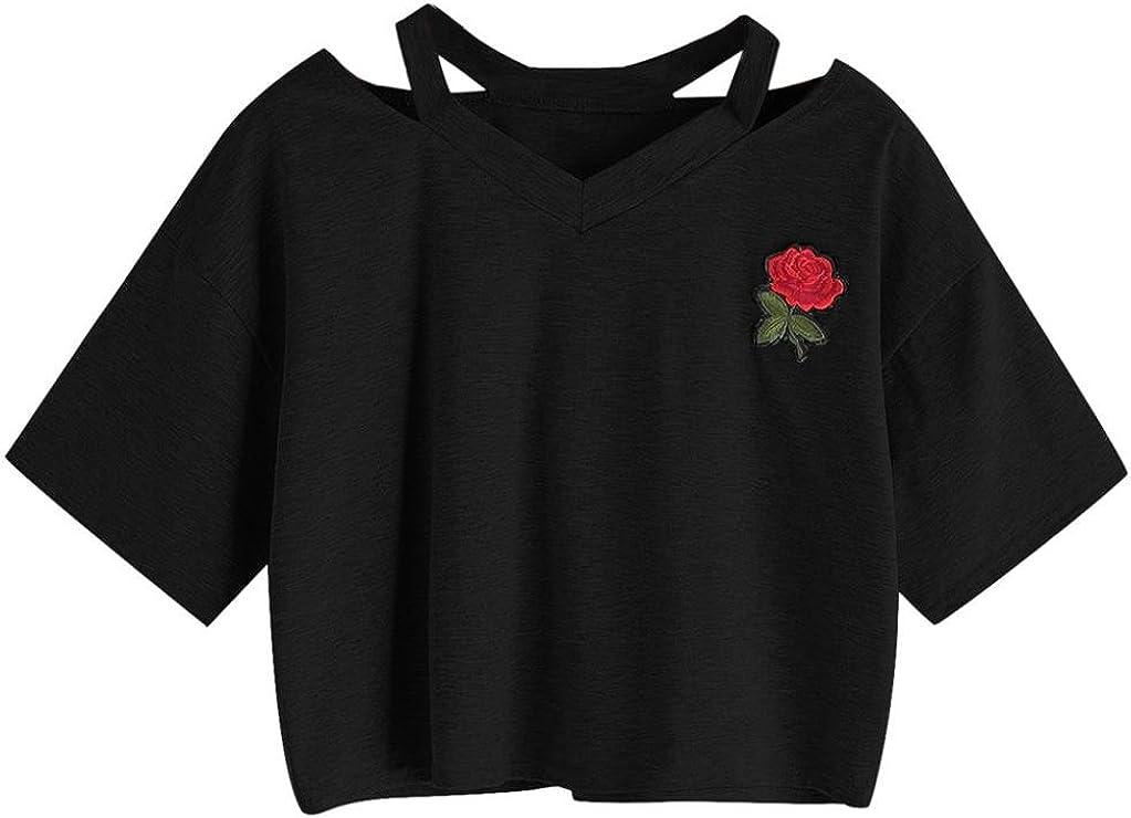 Goodsatar Mujer Rosa Manga Corta Casual Camiseta Mezcla de algodón Cuello en V Chaleco Tops Blusa