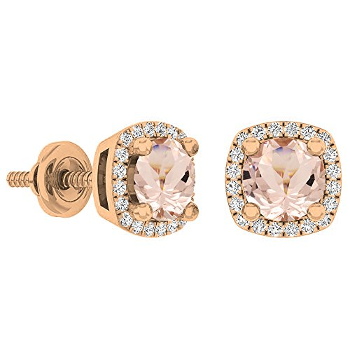 Dazzlingrock Collection 14K 5 MM Each Round Morganite & White Diamond Ladies Halo Stud Earrings, Rose Gold