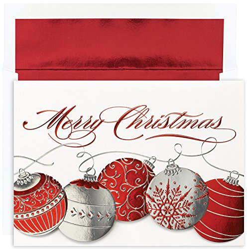 Masterpiece Studios Holiday Collection Boxed Merry Christmas Cards, Christmas Ornaments, 16 Cards/16 Foil-Lined Envelopes