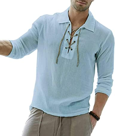 fengduo Hombre Lace-up Camisa Vintage Medieval Camisa Gótico Steampunk Pirata Shirt Solapa Regular Fit T-Shirt Casual Moda Etnica Camisa: Amazon.es: Ropa y accesorios