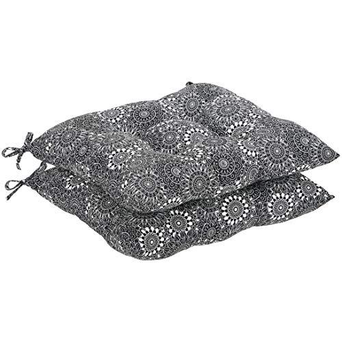 AmazonBasics Square Seat Patio Cushion, Set of 2- Black Floral