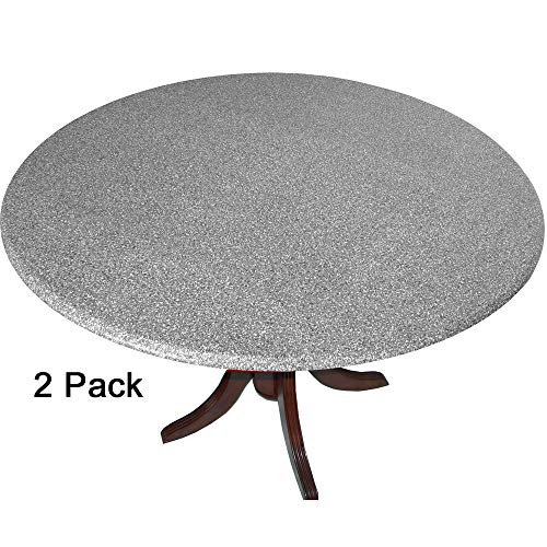 2 Pack of 2 Go Granite Fitted Tablecovers (Table Covers, Tablecloths) with The Look of Polished Granite Gray. Made in America ()