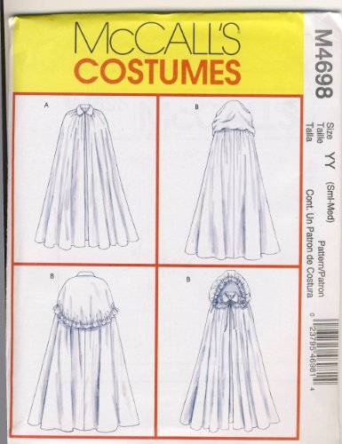 Mccalls Costume Patterns Medieval (McCall's Costumes Sewing Pattern 4698 - Use to Make - Misses' Capes - Renaissance Style - Sizes Small and Medium)