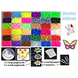 Perler Beads Fuse Beads Kit-36 Colors 10000 pcs 5mm Size Box(Peg Boards,Color Cards,Iron Papers,Tweezers)-Craft DIY Jigsaw Puzzle for Kids Adults Chirdren