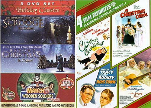 Spirit & Fun Holiday Christmas Pack 7 Movie Collection Charles Dickens Christmas Carol Scrooge / Connecticut / Guardian Angel Beyond / March of the Wooden Soldiers Babes in Toyland Rudolph / Boys Town