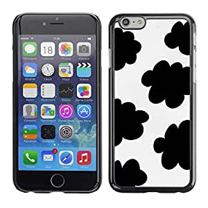 X-ray Impreso colorido protector duro espalda Funda piel de Shell para Apple iPhone 6 Plus(5.5 inches)- Spots Black White Clouds Sheep Pattern