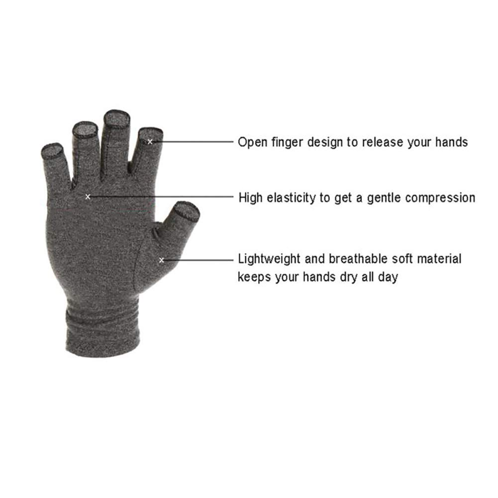 Arthritis Compression Gloves Relieve Pain from Rheumatoid, Carpal Tunnel, Hand Gloves Fingerless for Computer Typing and Dailywork(2 Pairs),S by SUN RDPP Arthritis Gloves (Image #2)