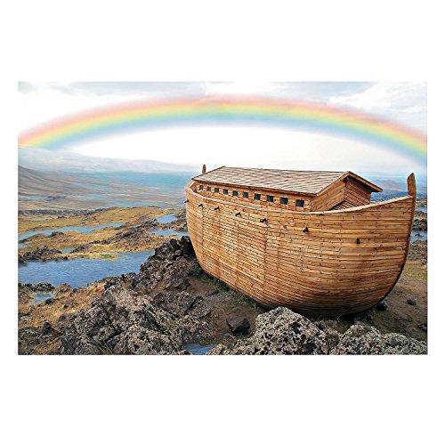 Fun Express - Noah's Ark Backdrop Banner - Party Decor - Wall Decor - Preprinted Backdrops - 3 Pieces (Noahs Ark Back Drop)