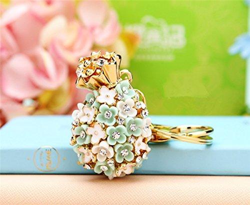 Pineapple Shape Little Daisy Flowers Car Key Chain Key Jewelry Keyring Fashion Trinket Souvenir Christmas Gift Bag Key Holder Decorations - Blue