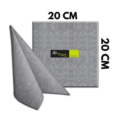 Tovaglioli di carta Air Wave 20 x 20 cm 1 cartone da 800 pezzi divisi in 16 confezioni da 50 pz cadauna color jill nero per tavola apparecchiata matrimoni e occasioni speciali Made in Italy