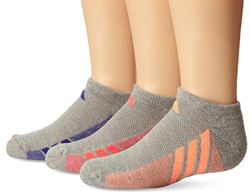 adidas Girls Cushion No Show Socks , Heathered Light Onix/Flash Orange - Night Flash Purple - Flash Red, Medium