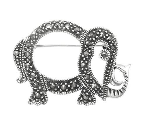 Wild Things Sterling Silver & Marcasite Openwork Elephant Pin