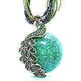 Hydne Restoring Ancient Ways Bohemia Peacock Cat-Eys Stone Women Nacklace(Green)