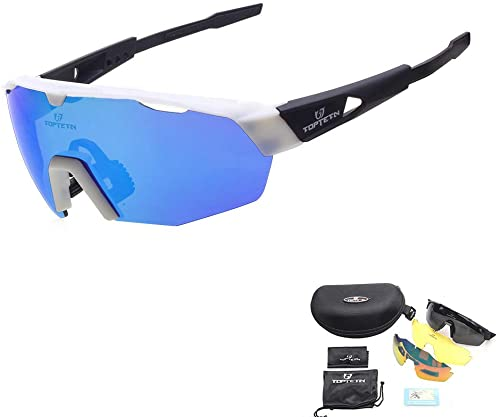 TOPTETN Polarized Sports Sunglasses with Interchangeable Lenes