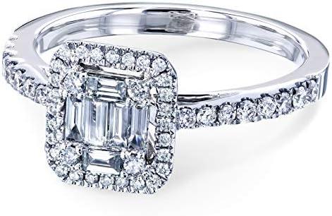 Kobelli Multi Diamond Baguette Cluster Half Eternity Engagement Ring