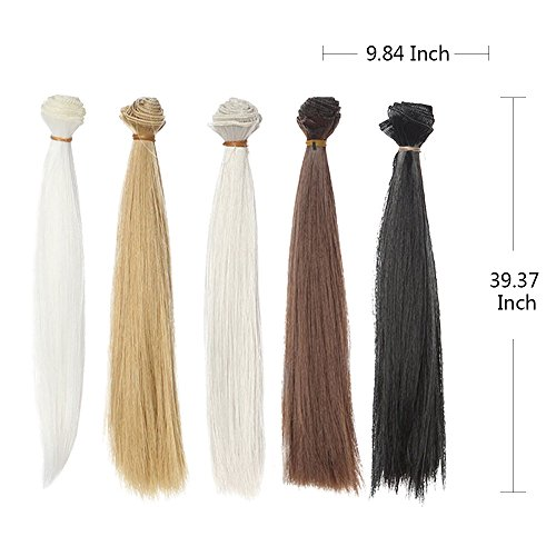 5pcs/lot,5.9''x39.37'' 5 Assorted Colors Natural Dark Brown White Gray Heat Resistant Synthetic Long Straight Hair Weft Hair Extensions for DIY BJD/SD/Bly The/American Girl Doll Wigs (Wig Girl Fantasy)
