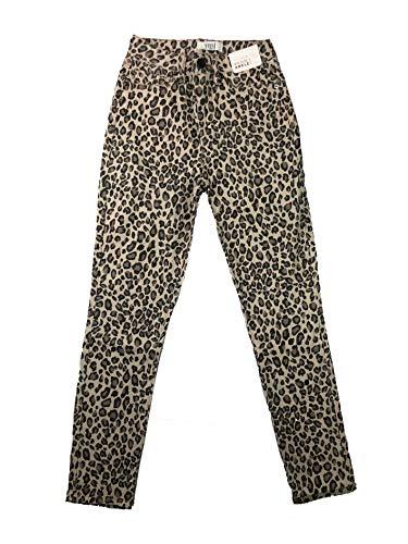 YMI Jeanswear Juniors' 1-Button Basic 5-Pocket Mid-Rise Ankle Skinny Jeans (Light Leopard, 9)