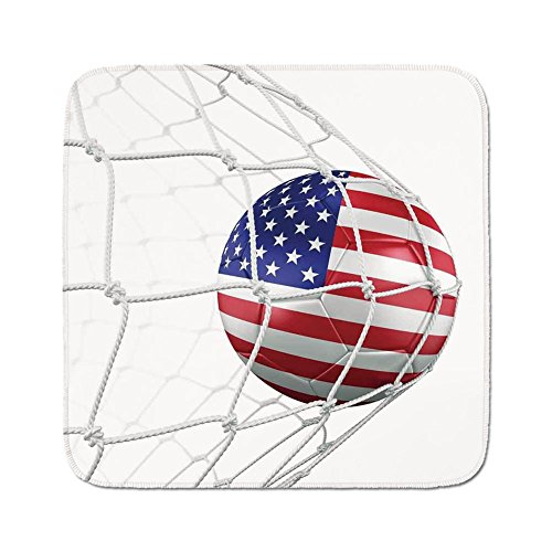 Cozy Seat Protector Pads Cushion Area Rug,Sports Decor,USA American Flag Printed Soccer Ball in a Net Goal Success Stylized Artwork,Easy to Use on Any Surface