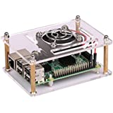 Raspberry Pi 3 Acrylic Case With Fan, Dual Ventilation Cooling Sides Provide Extreme Heat Reduction, Compatible With Raspberry Pi Model B+ and Raspberry Pi 2