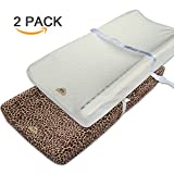 2 in 1 Crib and Changing Table BlueSnail Plush Super Soft and Comfy Changing Pad Cover Change Table Cradle Bassinet Sheets with Straps for Baby 2-Pack (1pc in brown+1 pc in white)