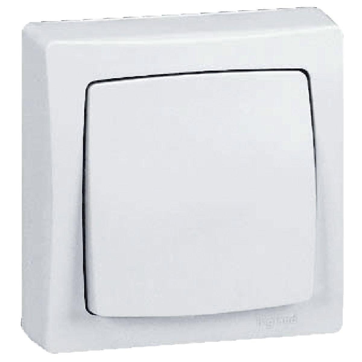 Legrand, 097340 Oteo - Interruptor de pared, interruptor conmutador de superficie, con marco en color blanco