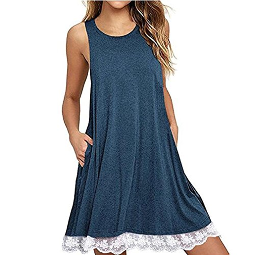 TOTOD Women O Neck Casual Lace Sleeveless Sleeveless Bag Hip Above Knee Dress Loose Party Dress (M, Blue) (Black Leather Calf Striped)