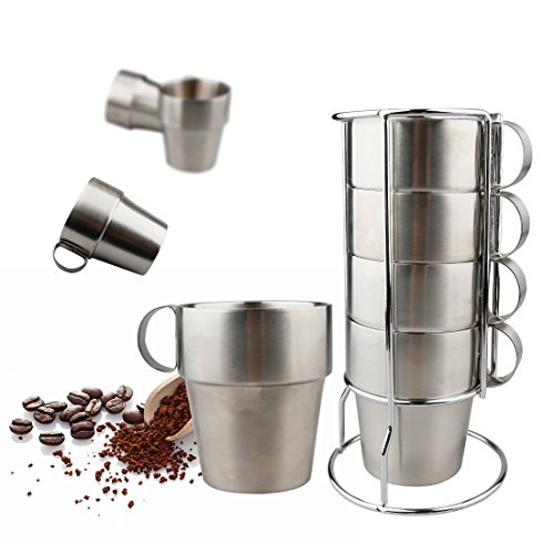 A-SZCXTOP Set of 4 Non-magnetic Stainless Steel Coffee Cups Double-layer Insulated Cup for Home Office Outdoor Picnic Camping Hiking Portable and Durable