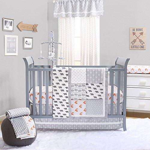 Cuddly Bear Quilt - Grey Woodland Bear and Fox Baby Crib Bedding - 20 Piece Nursery Essentials Set