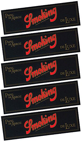Smoking Black DeLuxe 1 1/4 Rice Cigarette Rolling Papers 50 Leaves - 3109 - Papers Rolling Smoking