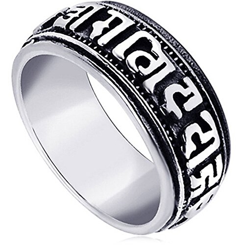 LWLH Jewelry Men's Stainless Steel Vintage Buddhist Six True Syllable Mantra Om Mani Padme Hum Ring - Om Mantra Ring Mani