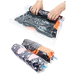 Travel Storage Bag , Vacuum Compression Space Saver Bags - Travel Hand Roll Up Manual Rolling Double Zipper Waterproof& Packing Organizers for Luggage Packing Home Clothes 2017 New (8 Packs,M-L)