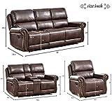 Harper & Bright Designs Sectional Recliner Sofa Set (Brown) (Chair & Loveseat & 3_Seat Recliner)