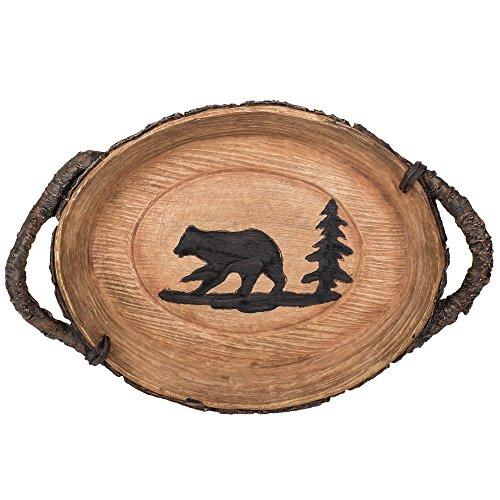 Decorative Polyresin Cabin Lodge Style Bear Tray