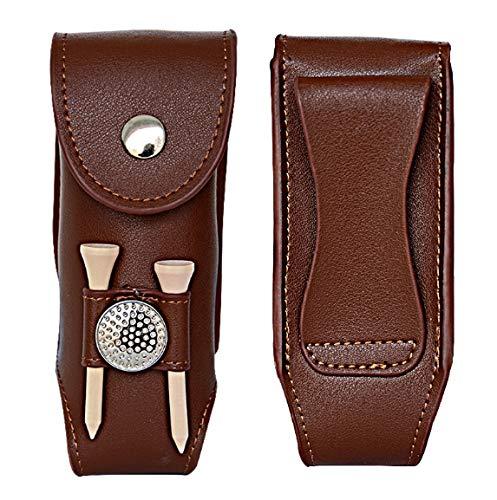 Floratek Golf Ball Holder - Leather Mini Carrying Golf Ball Bag Golf Tees Portable Pouch Belt Clip by Floratek