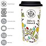 THE TEA SPOT Travel Tea Mug - 16 oz Double-walled Thermal Ceramic Mug with Silicone Lid | Botanical Tea Garden Design with Tea Steeping Guide by Steepware