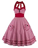 Oops Style Women Vintage 1950s Red White Plaid Lolita Swing Dress for Prom/Cocktail/Party
