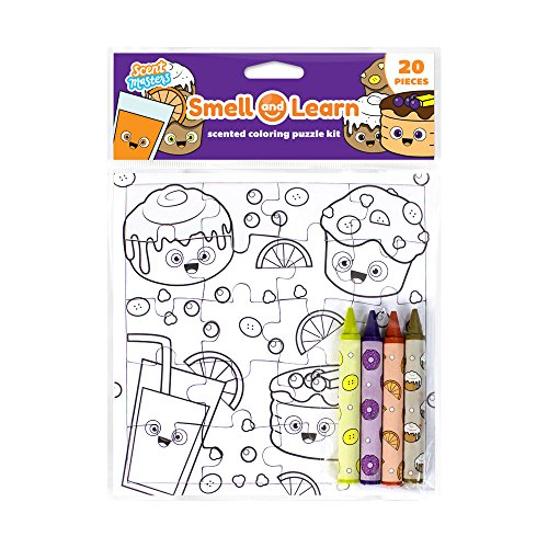 Scent Masters Coloring Puzzle: Breakfast Goodies – 20 Piece Puzzle with Scented Crayons