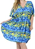 LA LEELA Likre Printed Short Caftan Vacation Royal Blue_1500 OSFM 14-28W [L-4X]