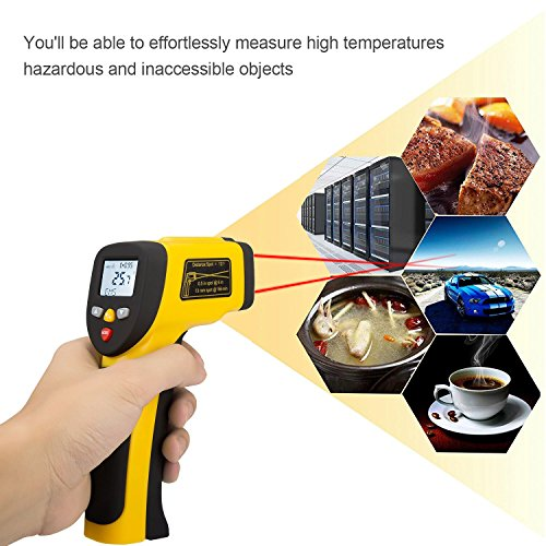 LURICO Infrared Thermometer, Helect Non-contact Digital Laser Temperature Gun (-58°F~1202°F/-50°C~650°C) - Accurate Digital Surface IR Thermometer with LCD Display (Battery Included) by LURICO (Image #5)