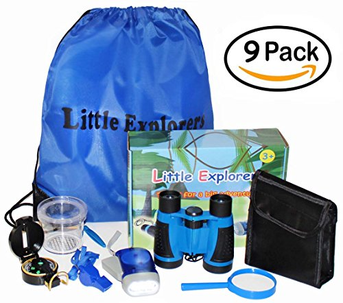 Price comparison product image Kids binoculars Set Little Explorers 9 Pack for outdoor exploration Kit for camping or fishing with magnifying glass compass and flashlight Educational toys and Pretend play