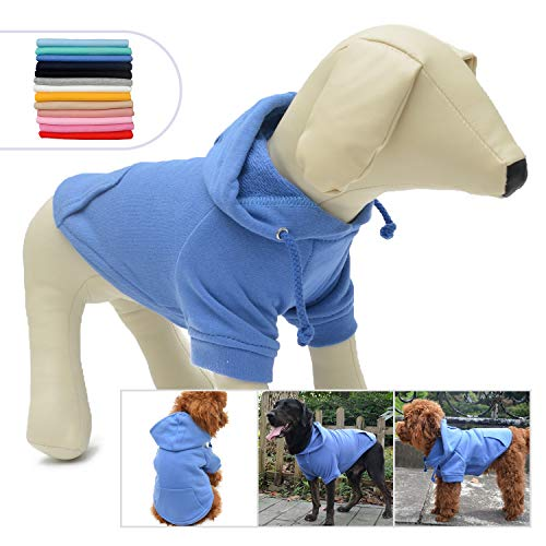Lovelonglong Pet Clothing Clothes Dog Coat Hoodies Winter Autumn Sweatshirt for Small Middle Large Size Dogs 11 Colors 100% Cotton 2018 New (S, Blue) - Hoodie Pet Dog Clothing