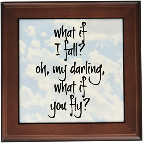 3dRose ft_200712_1 What if I Fall Oh My Darling What if You Fly Black Letters on Sky Pic Framed Tile, 8 by 8-Inch ()