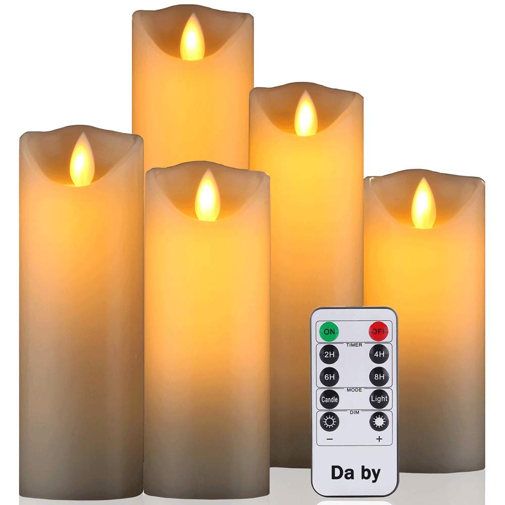 Da by Flameless Candle 5'' 6'' 7'' 8'' 9''Set of 5 Realistic Dancing LED Flickering Wick for Parties,Home,Public Elegant Events, Battery Powered, 10-Key Remote Control , Ivory Color