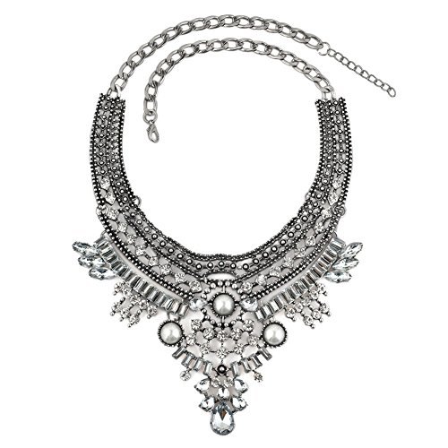 (Mel Crouch Bib Crystal Boho Bohemian India Style Chunky Party Turkish Statement Collar Necklaces Tassel)