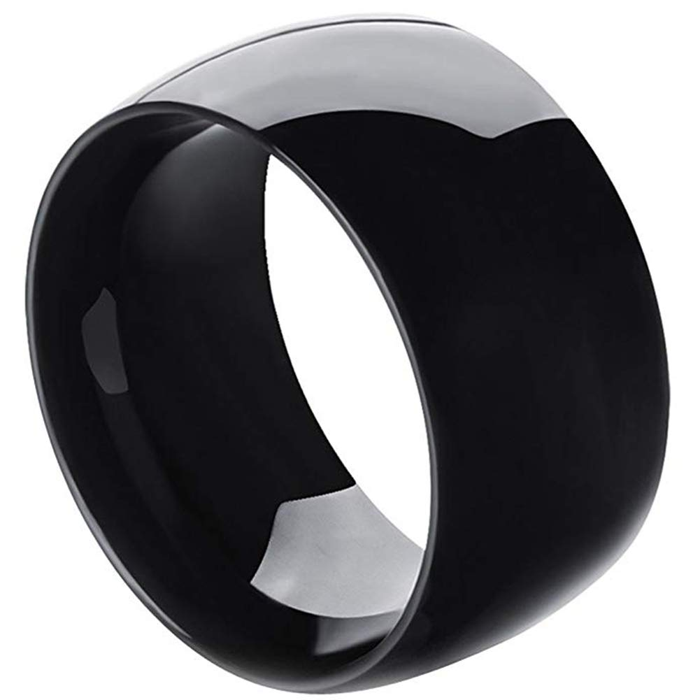MENSO SAINTHERO Men,Women's Wide 11mm Stainless Steel Ring Band Black Classic Wedding Polished Size 10 by MENSO (Image #1)