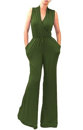 3f2b7944180 Amazon.com  OURS Women s Sexy Deep V Neck Long Sleeve Wrap Wide Leg ...