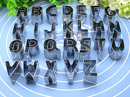 Cookie Cutter Set , Windspeed 26pcs Stainless Steel Alphabet Letters Biscuit Cookies Cutters Molds, Mini A-Z Shaped Mould Decorating Tool