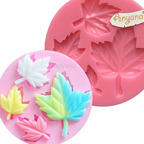 Anyana DIY Maple Leaf mold Silicone Cupcake Baking Molds Fondant Cake Decorating Tools Gumpaste Chocolate Candy Clay Moulds Non stick easy to use